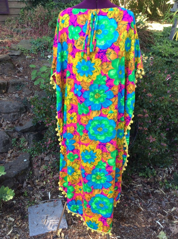 50's/60's Floral Barkcloth Swimsuit Cover-up