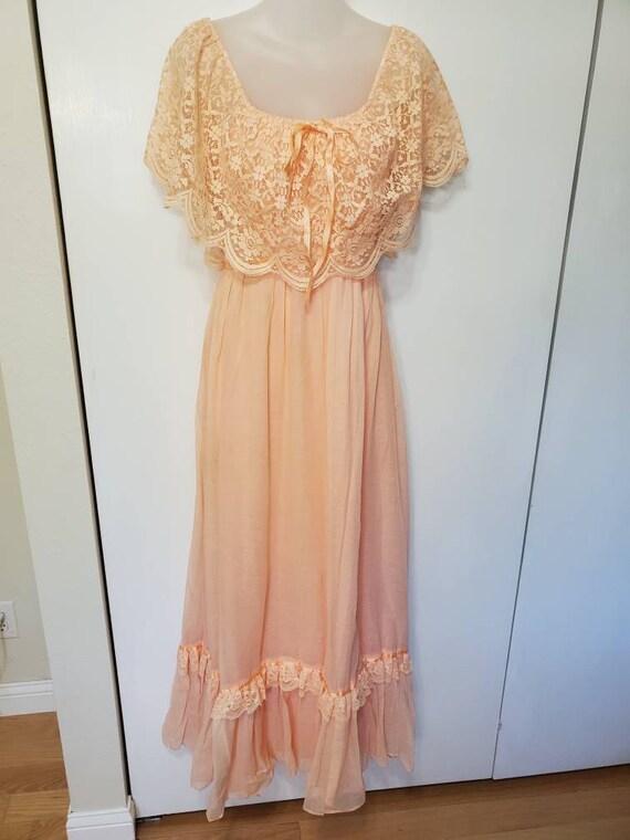 70's Apricot Lace Prairie Dress