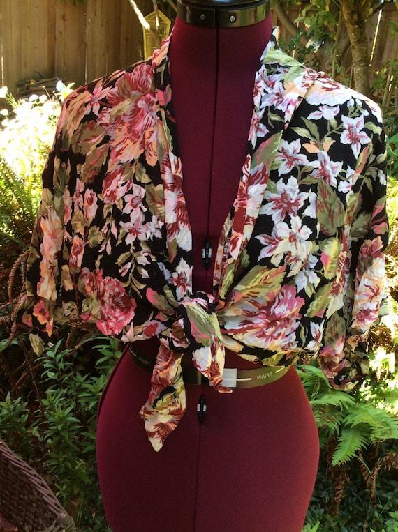 Vintage You Babes Tie Front Floral Blouse