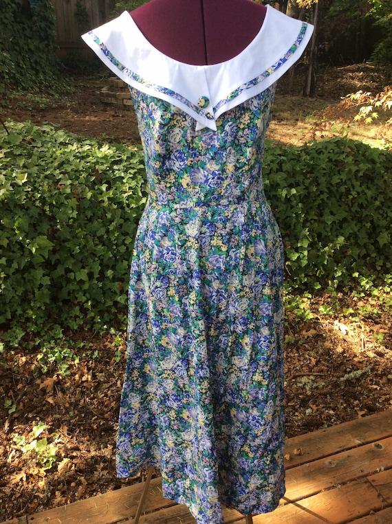 Vintage Laura Ashley Floral Cross Back Dress