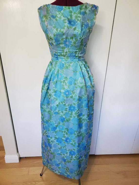 50's Lorrie Deb Floral Formal Evening Dress