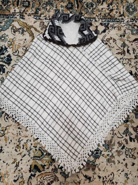 Vintage Handmade Plaid Wool Knit Poncho
