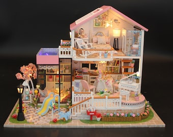 DK19 Nordic Holiday Dollhouse DIY Kit Cute Room House Model With Led Light and Musical Movement