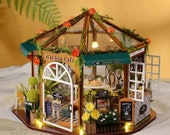 DIY 1 24 Miniature Dollhouse Kit Sunroom Garden Coffee Tea Shop Octagon Cafe House with LED lights Furniture Handcraft Model Gift Home Decor