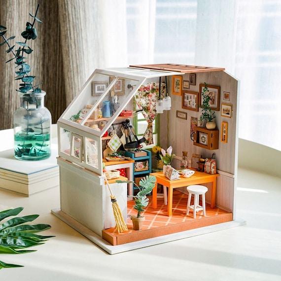 Robotime Rolife DIY Miniature DollHouse Kit LED SOHO time Home office Model Gift
