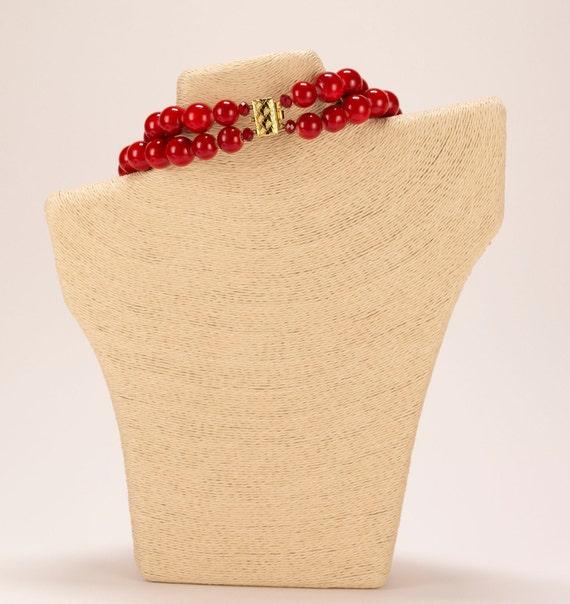 Rare Vintage 1980's Chunky Red Bead & Rhinestone … - image 4