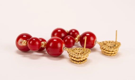Rare Vintage 1980's Chunky Red Bead & Rhinestone … - image 10