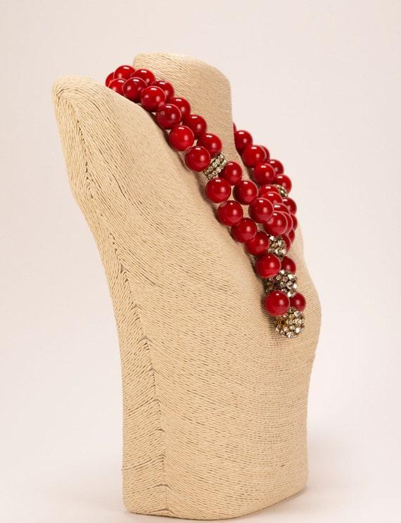 Rare Vintage 1980's Chunky Red Bead & Rhinestone … - image 3