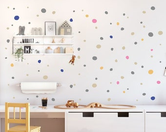 Hand Drawn Polka Dots Wall Decals Multicolored, Irregular Polka Dots Wall  Stickers, Imperfect Wall Decal Dots, Nursery U0026 Kids Room Decal