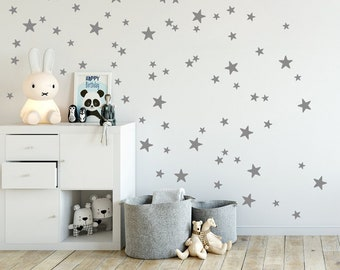 Elegant Mini Stars Wall Decals, Mixed Set Of 90 Little Stars, 2 Up To 4 Cm Sized In  Gold, Grey, Star Wall Stickers, Kids Room Decals U0026 Home Decor