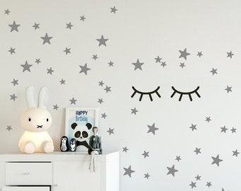 SLEEPY EYES Wandtattoo Kinderzimmer, 4 Grössen Von S Bis XL, Verschlafene  Augen Wandaufkleber Müde Augen Wimpern Aufkleber, Babyzimmerdeko