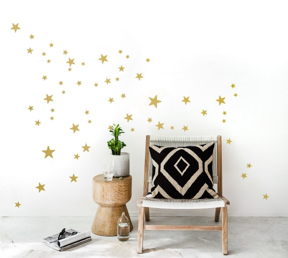 GOLD Stars Wall Decals 90 mixed size star decals 25 up to | Etsy