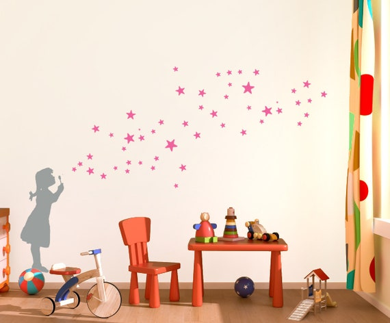 star bubble girl decal diy-wall-sticker star bubble decals | etsy