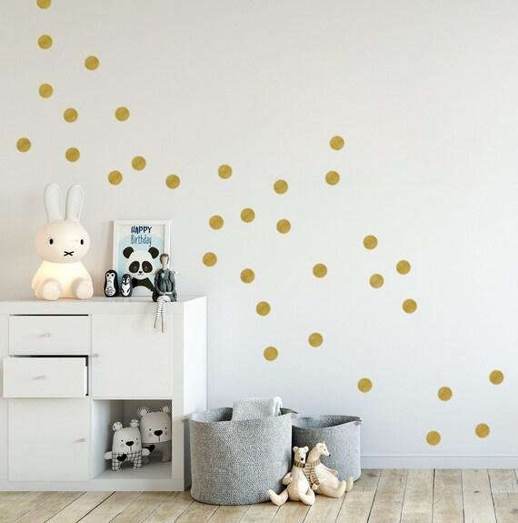 Kinderzimmer Wandaufkleber Wandtattoo Punkte Gold In 5 Grossen Kinderzimmer Dekoaufleber Metallic Gold Decor 2 5cm 3cm 4cm 5cm 10cm Dots