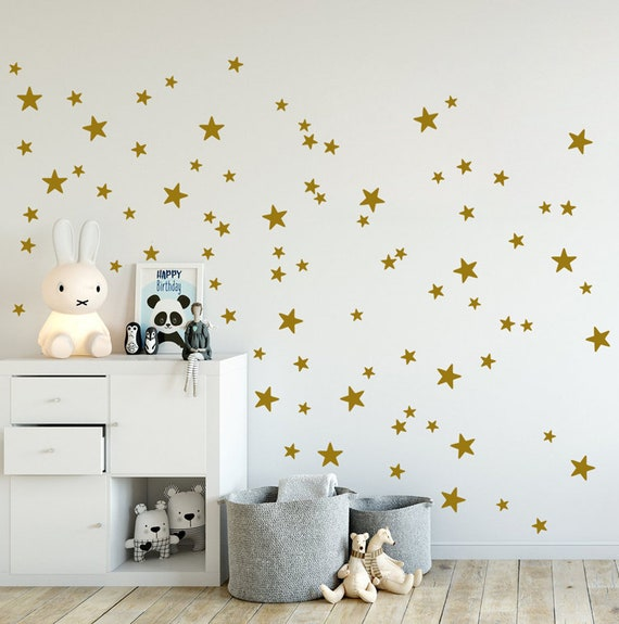GOLD Stars Wall Decals mixed Set of 90 mini sized star wall | Etsy