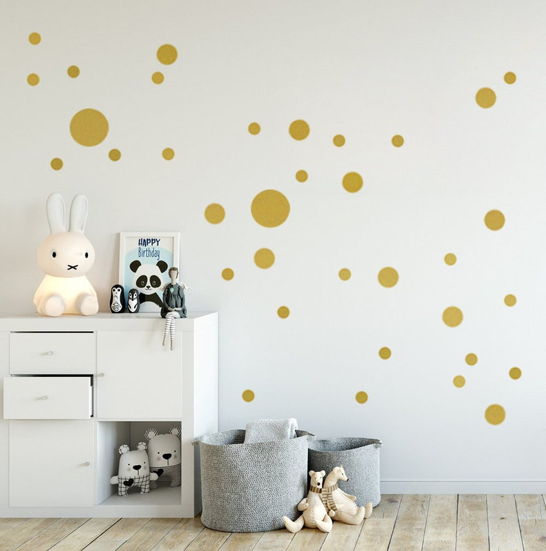 Kinderzimmer Wandaufkleber Wandtattoo Punkte GOLD in