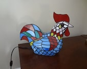 Vintage Stained Glass Rooster Lamp, Tiffany Style, Accent Chicken Lamp, Farmhouse Décor, Eclectic Styling, Accent Or Night Light, Table Lamp