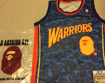 884333e2a53 Mitchell   Ness collab with Bape warriors jersey