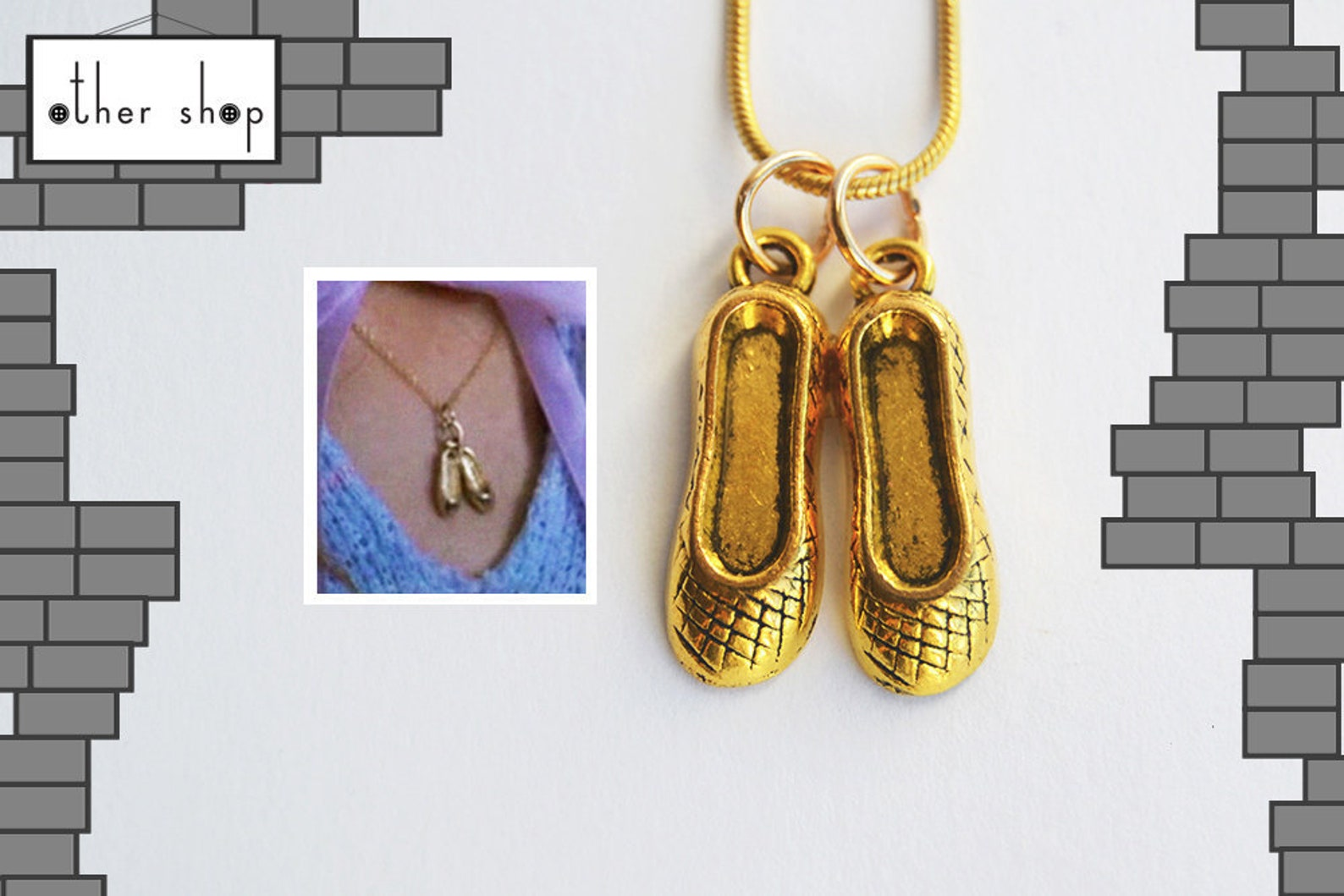 nancy wheeler's golden ballet slippers charm pendant necklace - accurate version - upside down jewelry