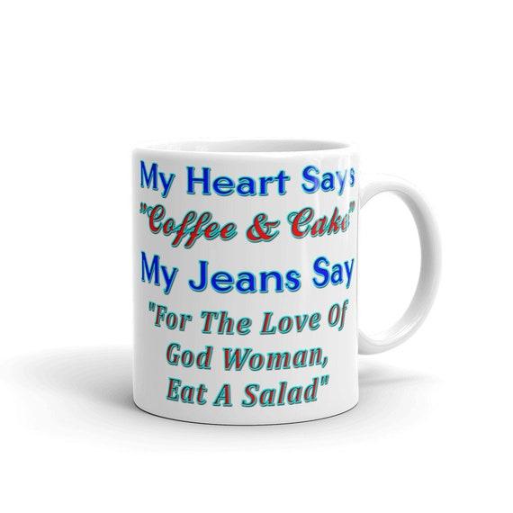 Mein Herz Sagt Kaffee Kuchen Lustige Becher Etsy