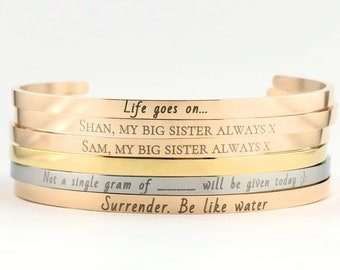 Personalized hand stamped engraved bracelet custom cuff bracelet Valentine/'s Day gift friendship gift