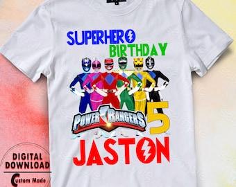 Power Rangers Iron On Transfer Birthday Shirt DIY Designs Printable Digital Files