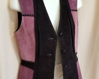 77237ee6189e Ladies Suede Leather Vest by Gantos - Black and Purple Suede - Size Small