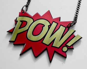 Pow Necklace, Grrr necklace, Two sided pendant