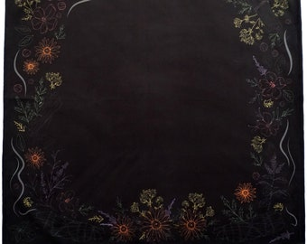 Kitchen Witch Herbology, Smoke Cleansing, Smudging Alternative, Tarot Altar Cloth, Large 24 inches x 24 inches, Velvet