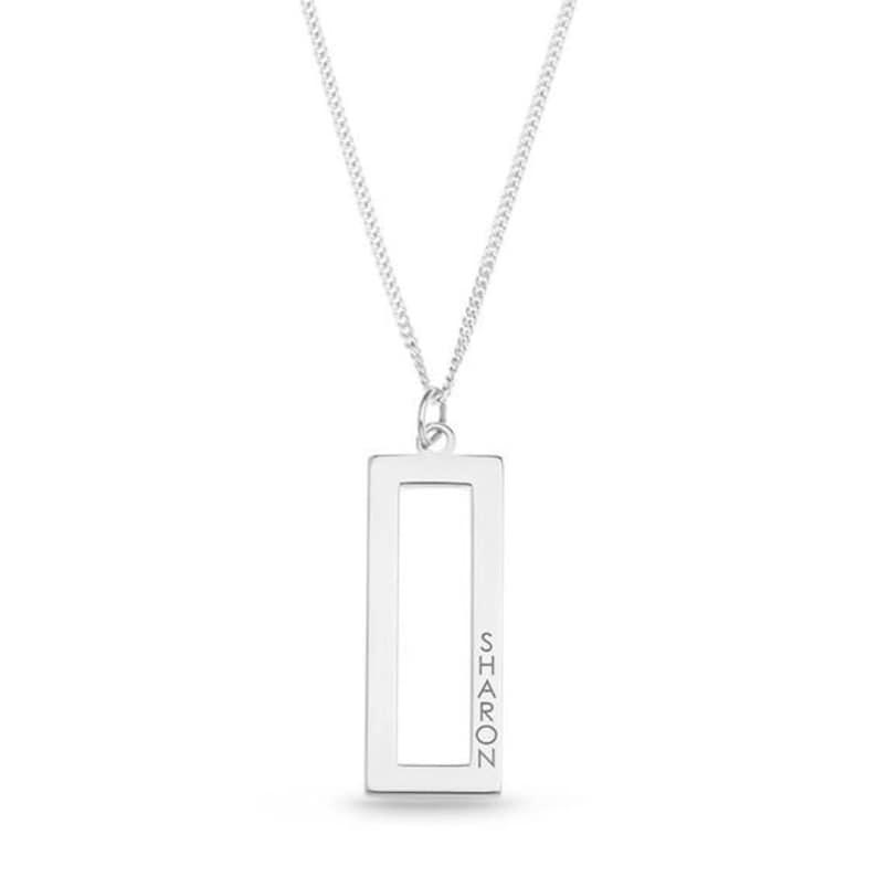 1 Line Rectangular Open Bar Pendant in Sterling Silver personalised gift script name locket