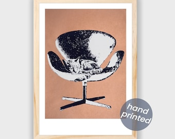 Screen printing * Swan chair with cat, copper *