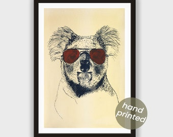 Silkscreen * Koala, gold with cyancolor bordeaux red Glasses *