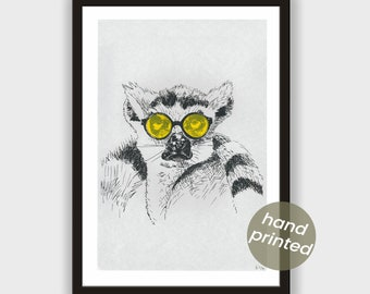 Silkscreen * Lemur with yellow glasses *