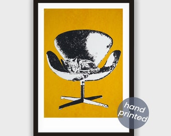 Screen printing * Swan chair with CAT, Currygelb *