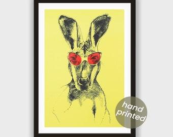 Silkscreen * kangaroo with pink glasses *