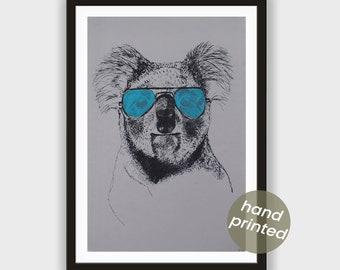 Silkscreen * Koala with cyan-colored Glasses *