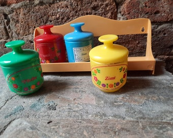 vintage spice rack * colorful cans