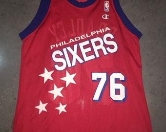 8909ef6dc8cf Shawn Bradley Champion Jersey 40 Philadelphia 76ers Sixers Vintage 1990s NBA  Basketball