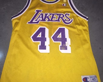 d2aa684d76c Jerry West Champion Jersey 40 Vintage 90s Rare NBA @ 50 Gold Jumpman Los  Angeles Lakers HOF Small Medium