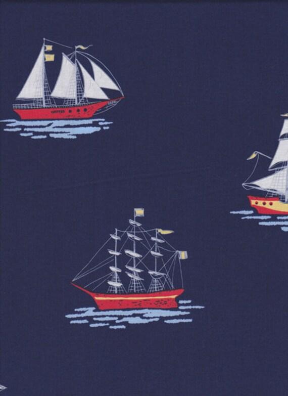 Tuch maritim blau mit Segelschiffen ca 55 x 55 cm Baumwolle