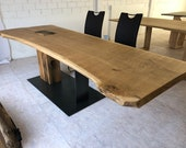 Dining table from an oak plank on 1 1/2 legs unique