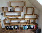 Solid oak shelf in modular system flexible