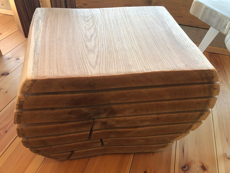 Coffee table made of oak solid wood from a tree trunk image 0