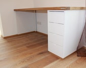Desk in solid oak and MdF white lacquered