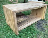 Coffee table made of solid oak wood from a continuous plank