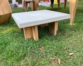 Concrete coffee table and solid egg edifies