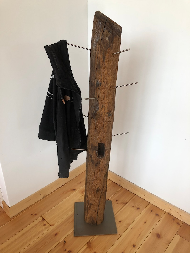 Wardrobe made of an old oak Dachtsuhl with metal base image 0