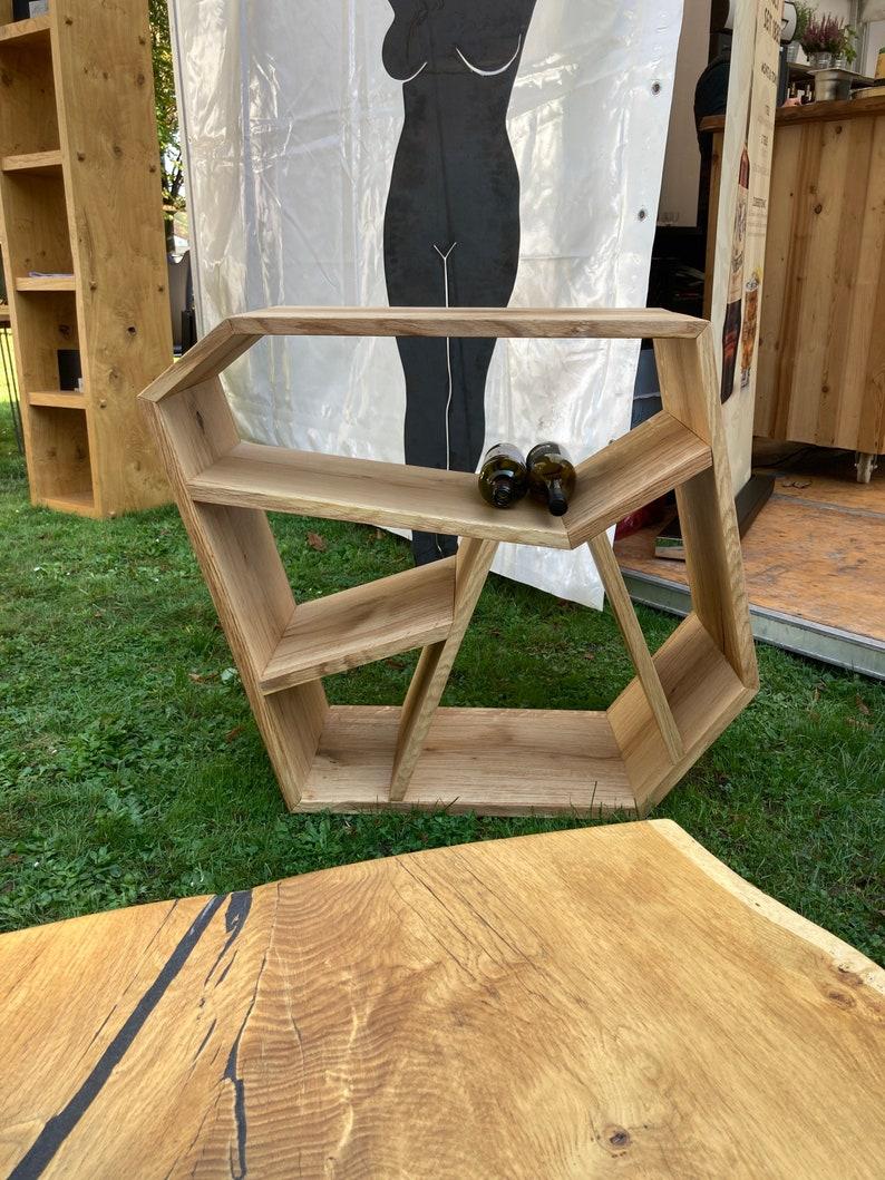 Wine rack Shelf Magazine shelf made of solid oak wood image 1