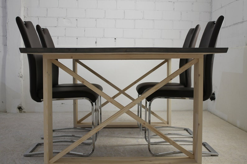 Dining table made of pine solid wood unique and available in image 0