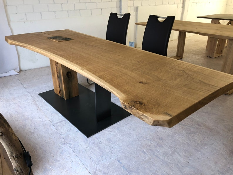 Dining table from an oak plank on 1 1/2 legs unique image 0
